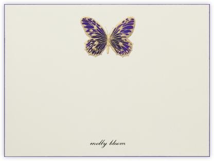 Hand Painted Butterfly (Stationery) - Purple - Bernard Maisner -