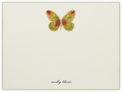 Hand Painted Butterfly (Stationery) - Red Yellow Green - Bernard Maisner - Personalized Stationery