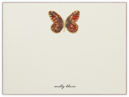 Hand Painted Butterfly (Stationery) - Red Brown - Bernard Maisner - Personalized Stationery