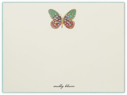 Hand Painted Butterfly (Stationery) - Red Teal - Bernard Maisner - Personalized Stationery