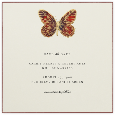 Hand Painted Butterfly - Red Brown - Bernard Maisner - Bernard Maisner Invitations