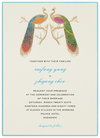Hand Painted Peacock - Double Peacock - Bernard Maisner - Engagement party invitations