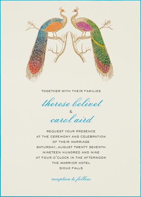 Hand Painted Peacock - Double Peacock - Bernard Maisner - Wedding invitations