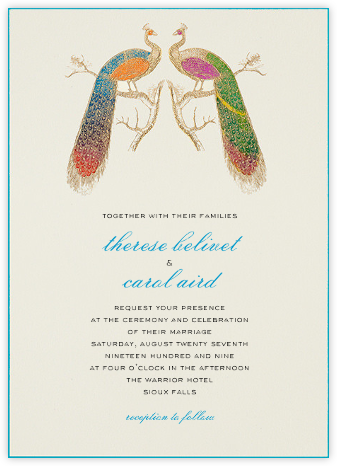 Engagement party invitations online at paperless post hand painted peacock double stopboris Images