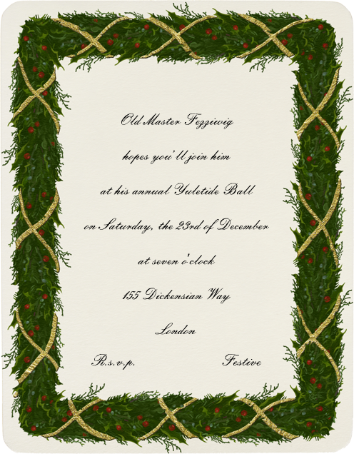 Holly Garland (Metallic Gold) - Paperless Post - Invitations