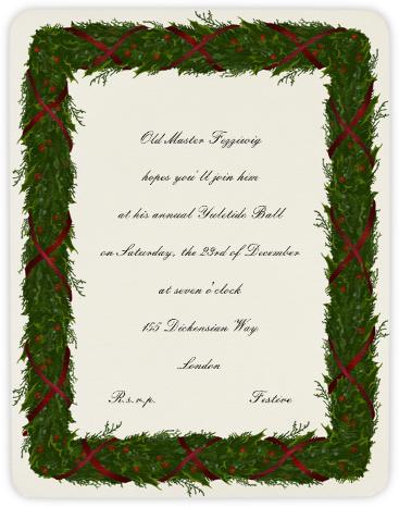 Holly Garland (Red) - Paperless Post - Holiday invitations