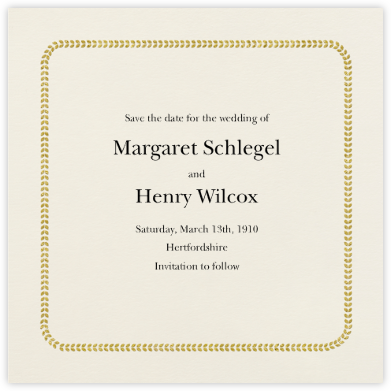 Leaf Inner Bevel Border - Cream Gold (Small Square) - Paperless Post - Save the dates
