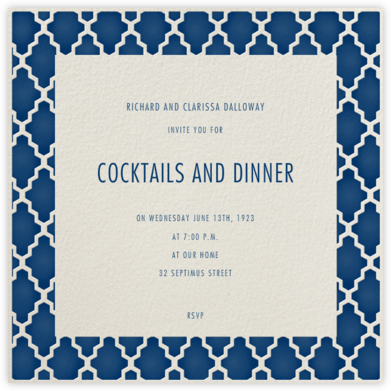 Marrakesh - Dark Blue (Square) - Paperless Post - Invitations