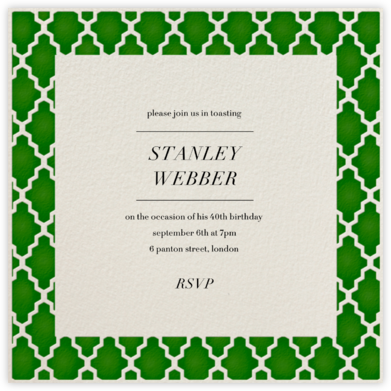 Marrakesh - Forest Green (Square) - Paperless Post - Adult Birthday Invitations