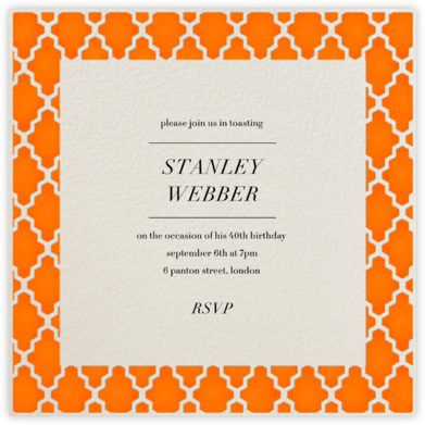 Marrakesh - Orange (Square) - Paperless Post - Adult Birthday Invitations
