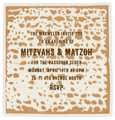 Matzoh - Paperless Post - Passover invitations