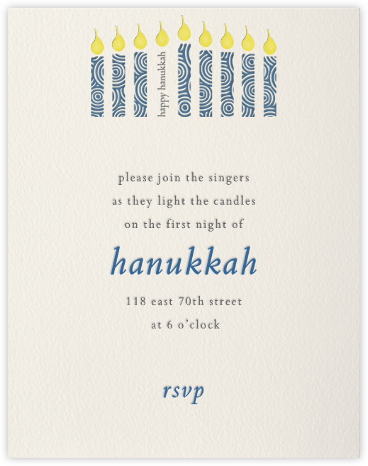 Modern Menorah (cream) - Paperless Post - Invitations