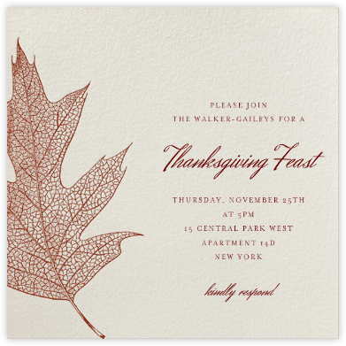 Oak - burgundy - Paperless Post - Thanksgiving invitations