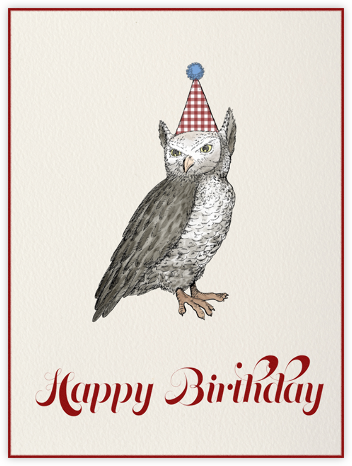 Owl (Cream) - Paperless Post - Birthday Cards for Him
