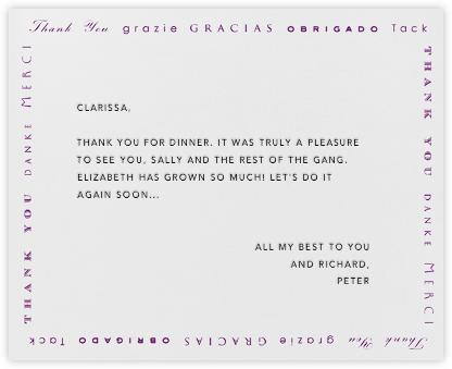 Polyglot Thanks (Eggplant) - Paperless Post - General