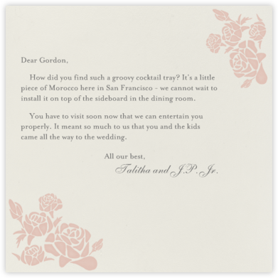 Roses- Cream with Antique Pink (Square) - Paperless Post -