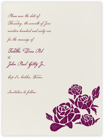 Roses- Cream with Plum (Secondary Tall) - Paperless Post -