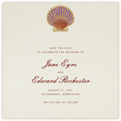 Hand Painted Scallop Shell - Purple Maroon - Bernard Maisner - Engagement party invitations