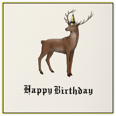 Stag (Cream) - Paperless Post - Birthday Cards for Him
