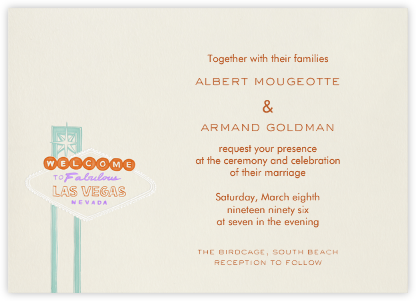 Vegas - Orange and Lilac (Welcome Horizontal) - Paperless Post -