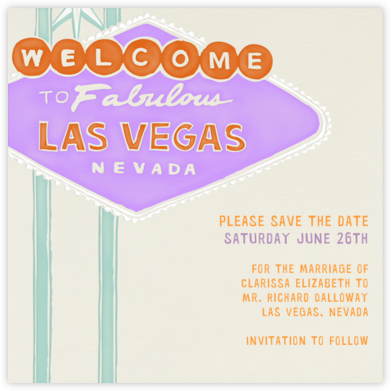 Vegas Welcome - Lilac - Paperless Post - Save the dates