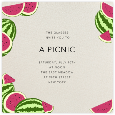 Watermelons (Cream) - Paperless Post - Picnic Invitations