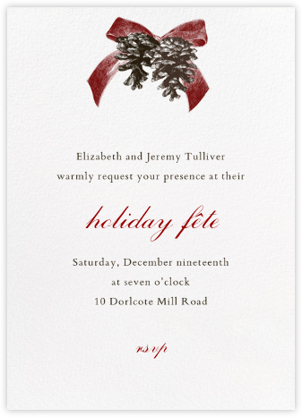 Winter Pine - Red - Paperless Post - Holiday invitations