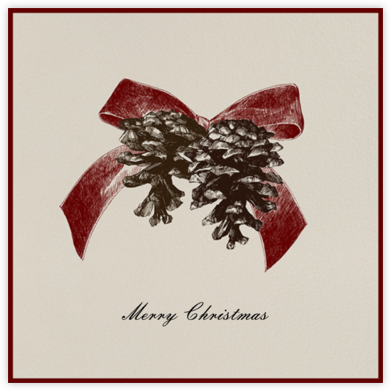 Winter Pine Square - Red - Paperless Post - Christmas Cards