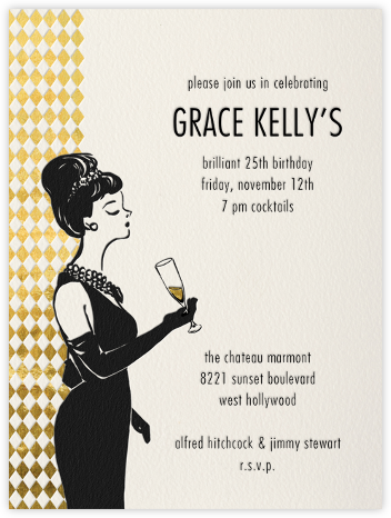 Woman with Champagne - Paperless Post - Adult Birthday Invitations