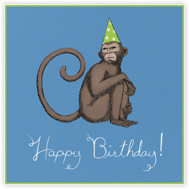 Monkey (Dempsey Blue) - Paperless Post - Birthday Cards for Him