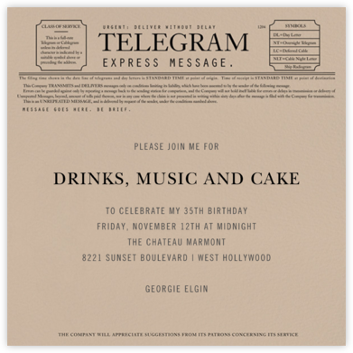 Telegram - Paperless Post - Adult Birthday Invitations