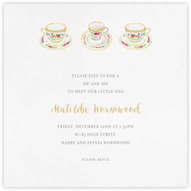Three Cups of Tea - Paperless Post - Baby Shower Invitations