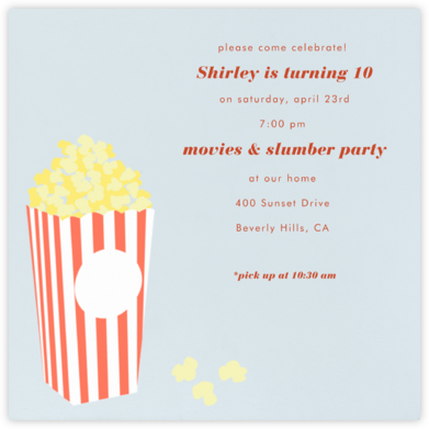 Bucket of Popcorn - Blue - Paperless Post - Online Kids' Birthday Invitations