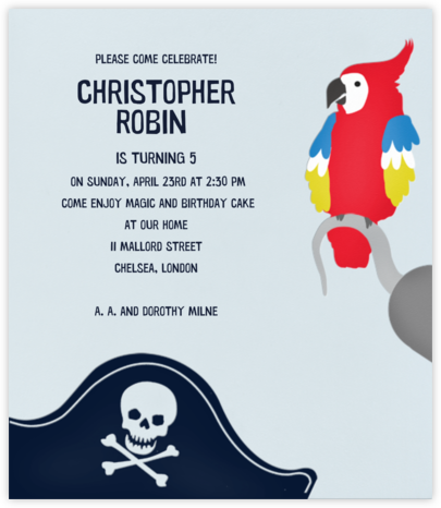 Parrot and a Pirate - Paperless Post - Online Kids' Birthday Invitations