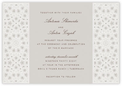 Moroccan Doors - White - Bernard Maisner - Wedding Invitations