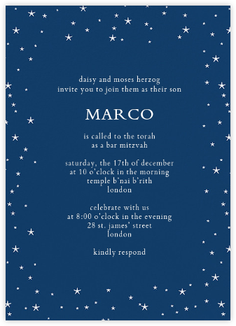 Andromeda - Dark Blue - Paperless Post - Bat and Bar Mitzvah Invitations