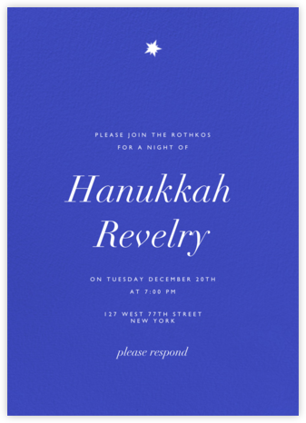 Lapis Lazuli (Tall) - Paperless Post - Hanukkah Invitations