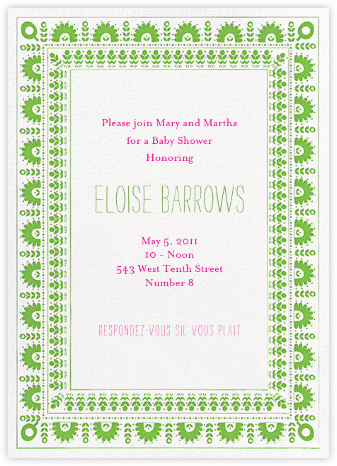 A Splendid Dutch Pot - Lime - Mr. Boddington's Studio - Baby Shower Invitations