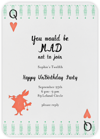 A Very Happy Unbirthday - Coral - Mr. Boddington's Studio - Online Kids' Birthday Invitations