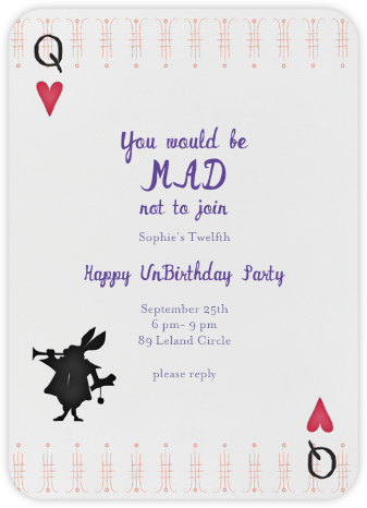 A Very Happy Unbirthday - Lipstick - Mr. Boddington's Studio - Birthday invitations