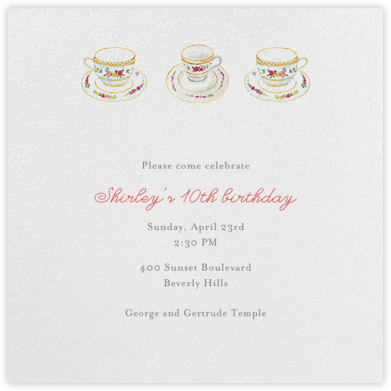 Three Cups of Tea - Paperless Post - Birthday invitations