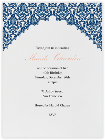 Arabesque - Dark Blue - Paperless Post - Adult Birthday Invitations