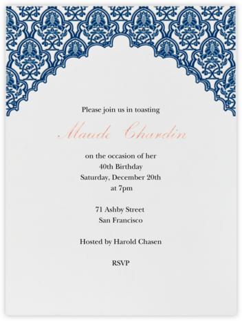 Arabesque - Dark Blue - Paperless Post - Adult birthday invitations