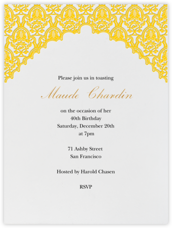 Arabesque - Mustard - Paperless Post - Adult Birthday Invitations