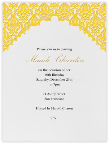 Arabesque - Mustard - Paperless Post - Adult Birthday Invitations