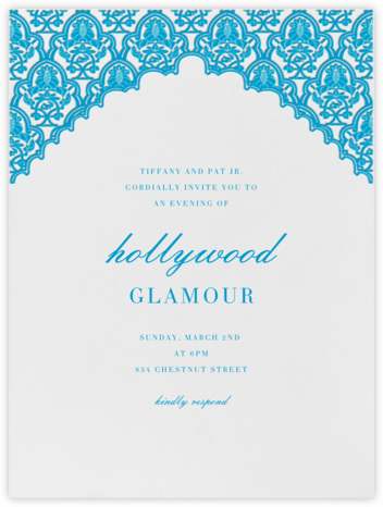 Arabesque (Robins Egg Blue) - Paperless Post - Viewing Party Invitations