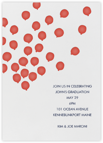 Balloons - Red - Linda and Harriett - Adult Birthday Invitations