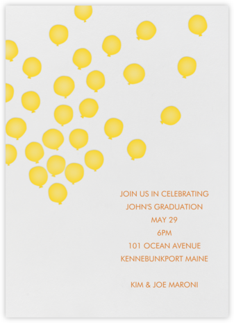 Balloons - Mustard - Linda and Harriett - General Entertaining Invitations