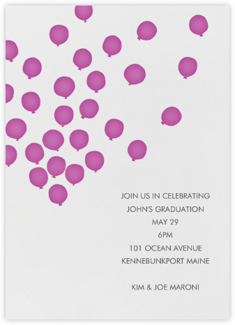 Balloons - Fuschia - Linda and Harriett - Kids' Birthday Invitations
