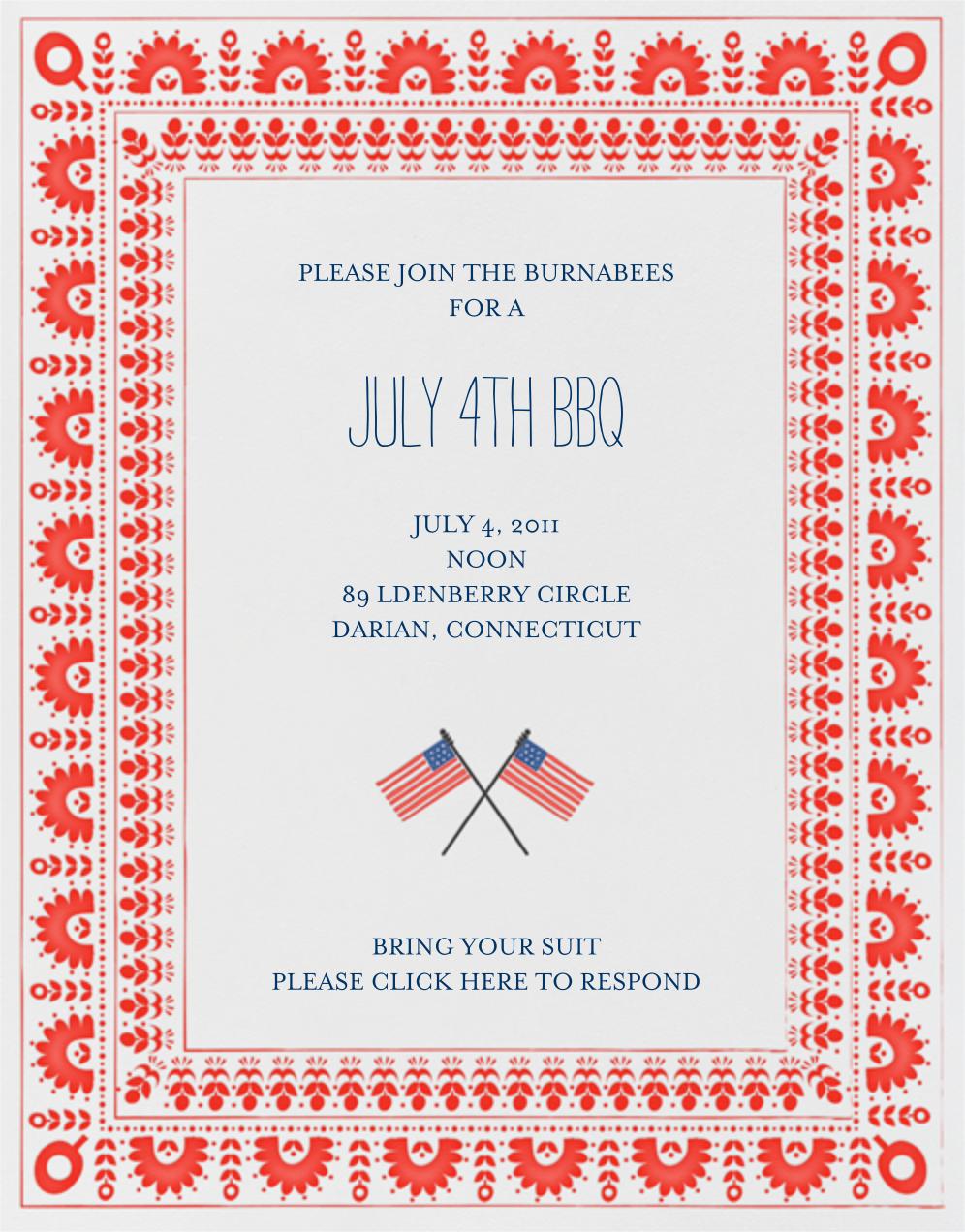 Betsy Ross Handy Work - Red - Mr. Boddington's Studio - Summer entertaining invitations